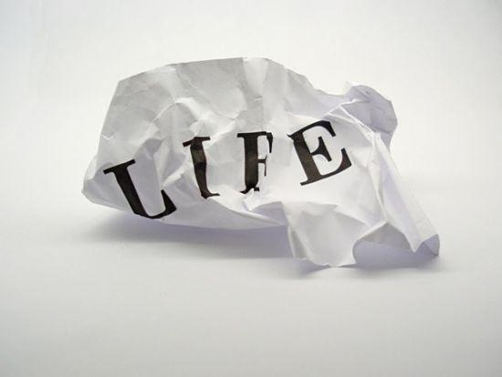 Life scrumpled paper