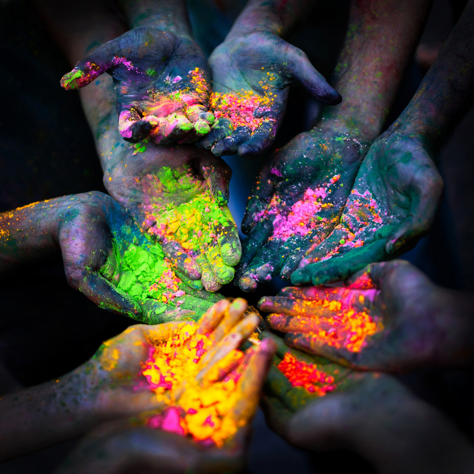 colour hands people race