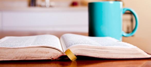 bible and mug of tea church